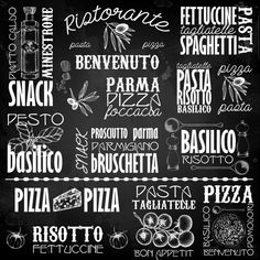 "INSTANT DOWNLOAD-Chalkboard-Kitchen-Food--Italian Menu-Cook-Chef-Pizza-Pasta-Pesto-Bon appetit-Italian Cuisine-5x5"",12x12"", 16x16"" No.263_D"