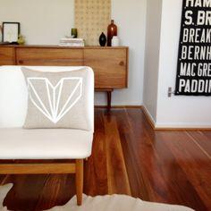 Diamond Heart handprinted linen cushion.  #EtsyAustralia
