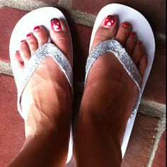 Glitter a pair of $1 Walmart flip flops with Modge Podge and glitter. Way cheaper:)