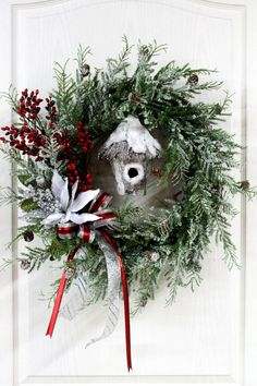 Little Bit of Country, Christmas Wreath, Beautiful Snowy Wreath with Bird House of Snow -- FREE SHIPPING. $ 135.00, via Etsy.