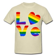 The word LOVE with a heart shaped #Gay Pride Rainbow flag for the 'O'. Fun for Gay Pride events, Valentine's Day and any time you want to look great. Shows wonderfully on this Men's Heavyweight T-Shirt Classic-cut 100% pre-shrunk cotton. #LGBT http://gayprideflaggear.spreadshirt.com/gay-pride-love-A12089123/customize/color/404