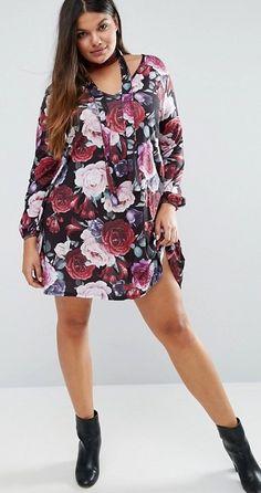 Plus Size Scarf Detail Printed Swing Dress