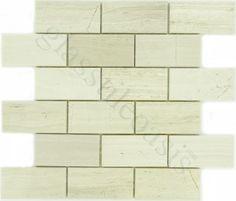 "Champion Tile  Subway Tiles, 2"" x 4"", Wooden White Marble, Polished, Cream/Beige, Stone"