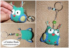 Little owl crocheted, green small owl, keychain owl, amigurumi hanging owl, crochet owl keyring, stuffed tiny bird, miniature owl, wee gift - pinned by pin4etsy.com