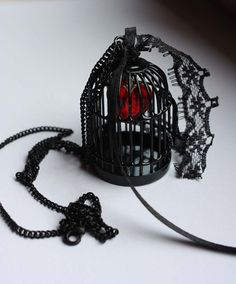 Gothic Black Bird Cage Necklace with Red Heart by pinkabsinthe