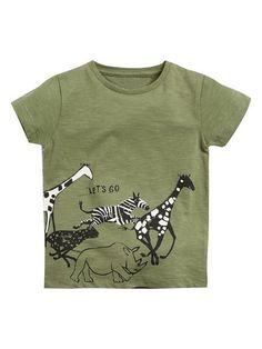 This is a must-have for the boys who love safari animals! The army green colour further accentuates the safari feel. Link in bio. Toddler Boy Fashion, Kids Fashion, Safari Shirt, Fashion Themes, Safari Animals, Kid Styles, Baby Shop, Boys T Shirts, Zebra Print