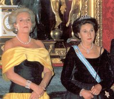 Maria de las Mercedes two daughters, Pilar on the left, wearing her mother's sapphire tiara, and Margarita on the right, wearing a diamond tiara with pearl spikes
