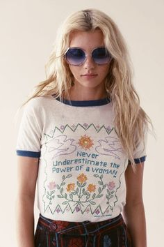 Amazing vintage 60's feminist ringer tee... http://stonedimmaculatevintage.com/collections/all/products/we-can-do-it-60-s-feminist-tee