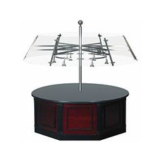 6 ft dia x 88 H inch Circular Buffet with Custom Round Sneeze Guard with Lights 120V