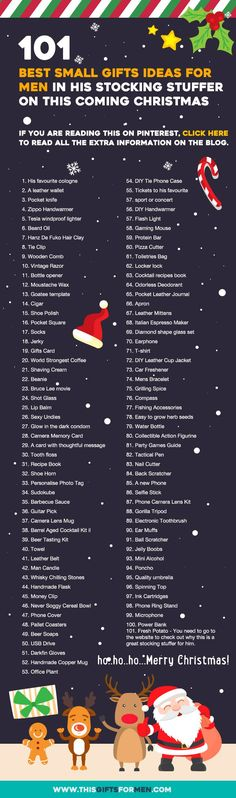 101 Best Small Gifts Ideas For Men For His Stocking Stuffer on This Coming Chri. 101 Best Small Gifts Ideas For Men For His Stocking Stuffer on This Coming Christmas (Infographics) Noel Christmas, Winter Christmas, Christmas Stockings, Christmas Crafts, Stockings For Men, Funny Christmas, Christmas Countdown, Christmas Morning, Christmas Birthday