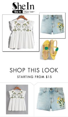 """""""Flower Embroidered Buttoned Keyhole Ruffle Babydoll Top"""" by anchesky23 on Polyvore featuring Gucci and Talbots"""