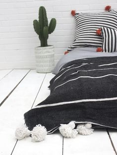 Moroccan Cotton Black and White Stripe Tassel Pom Pom Blanket