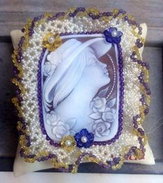Shell cameo with amethyst, topaz, citrine, pearls and lapis