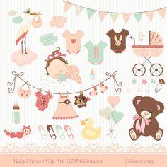 Baby-Dusche-ClipArt  BABY SHOWER ClipArt. von MoonberryDigitalArt