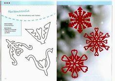 Valentine snowflake cut-outs Noel Christmas, Christmas Wrapping, Christmas Crafts, Paper Snowflake Patterns, Paper Snowflakes, Crafts To Do, Paper Crafts, Diy Crafts, How To Make Snowflakes