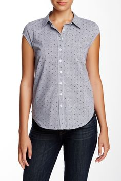 Cap Sleeve Novelty Button Down Blouse (Petite) by SUSINA on @nordstrom_rack