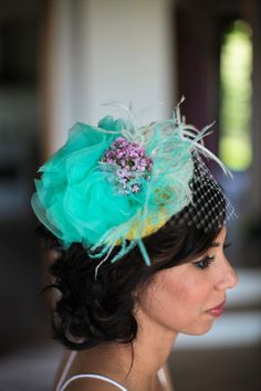 blue and purple fascinator Wedding Images, Wedding Styles, Purple Fascinator, Tea Party Hats, Italy Wedding, Hair Pieces, Vintage Looks, Wedding Bells, Wedding Inspiration