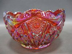 Vintage Imperial Amberina Carnival Glass Bowl