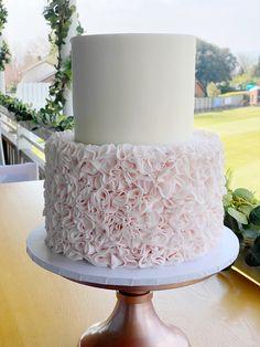 2 Tier Wedding Cakes, Wedding Cake Maker, Luxury Wedding Cake, Elegant Wedding Cakes, Wedding Cake Designs, Pink Ruffle Cake, Ruffles, 2 Tier Cake, Tiered Cakes