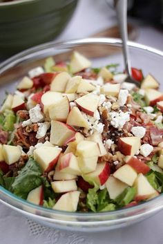 Raspberry Vinaigrette Salad! it has bacon, apples, walnuts, and feta cheese. Cut down on the bacon (leave it out?) or sub turkey bacon. Use lower sugar/fat dressing.