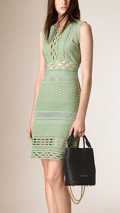 Celadon green Cut-out Cotton Silk Blend Shift Dress | #Burberry #BEBrand