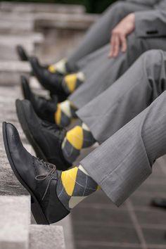 Yellow and grey, argyle socks, sharp and stylish // George Street Photo & Video Grey Wedding Theme, Wedding Colors, Dream Wedding, Wedding Day, Wedding Boudoir, Wedding Summer, Wedding Gifts, Yellow Grey Weddings, Gray Weddings