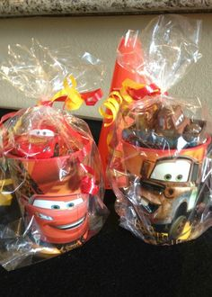Fun favors at a Disney's Cars boy birthday party!  See more party ideas at CatchMyParty.com!