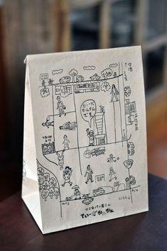 パンを入れる紙袋+地図 : アイデアにんべん: