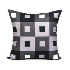 Checkered Grey Throw Pillow