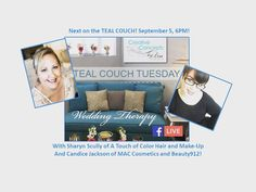 What's up next on teal couch Tuesday? We are having a hair and make up round table with @atouchofcolormakeup and @candigirl912 so tune in this Tuesday September 5 at 6 PM as we are on Facebook live it's time for some Wedding therapy! #ccblct #ccbl #tealcouch #tealcouchtuesday #weddingtherapy #facebooklive #weddinginspo #weddinginspiration