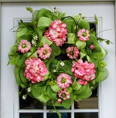 We love this hydrangea and mesh wreath!  You can get everything you need to make your own bright wreath at Old Time Pottery!
