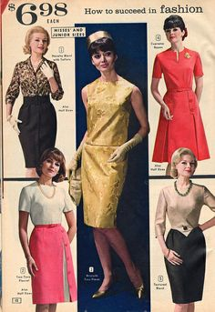 Elegant skirt, blouse and dress fashions from 1964. #vintage #1960s #dresses #fashion #catalogs