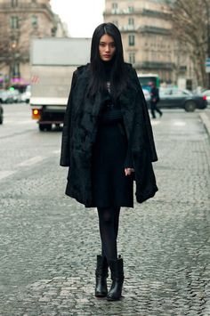 I'm wearing a lot of black for this winter and i'm loving this type of layered full black coat and boots combo right now :)