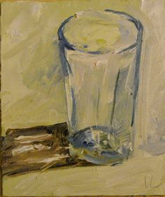 "Empty Glass by Ian Costello Oil ~ 7"" x 6"""