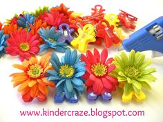 DIY Magnetic Flower Clips using hot glue, artificial flowers, and magnet man clips