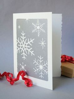 Silver Snowflakes Christmas Card, Winter Holiday Notecard, Hand-printed Snow Linocut Card, Blank Inside from CursiveArts on Etsy. Christmas Cards To Make, Christmas Art, Handmade Christmas, Linoprint, Linocut Prints, Note Cards, Making Ideas, Christmas Crafts, Lino Cuts