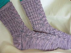 A lacy, feminine sock with sweet details like a picot cuff, round toe, and contrasting lace rib pattern on the back of the sock. Knit Shoes, Sock Shoes, Knit Or Crochet, Crochet For Kids, Lace Socks, Women's Socks, Knit Stockings, Knitting Videos, Patterned Socks