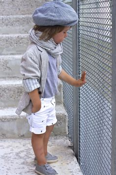 Such a cute little boys outfit! minus the scarf and sweater this would be a nice summer outfit for the beach walk.