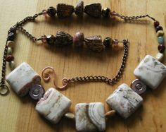 22 inch Necklace- Rosetta Lace Agate and Jasper with Copper Coated Chain