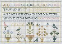 Cross Stitch Sampler ~ alphabet, birds, flowers and Early style primitive style motifs. (In French) Free Chart From: http://www.pcbdijon.com/cadeaux/grilles.htm. Pattern: Needlwork Freebie.