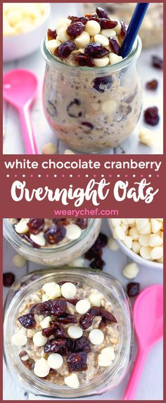 This 5-minute prep overnight oats recipe is brimming with white chocolate and cranberry flavor. Perfect for a grab and go breakfast!