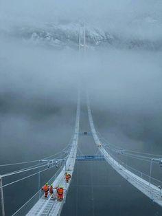 Hardanger Bridge, Norway...scary...