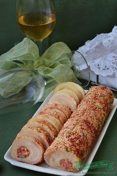 Reteta Rulada aperitiv de cascaval afumat si natur.Rulada de cascaval.Aperitiv cu cascaval.Aperitive festive.