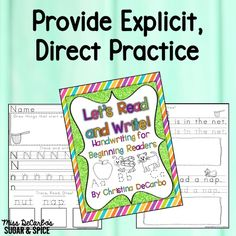 Handwriting skills WITH reading practice! Perfect as a back to school refresher!