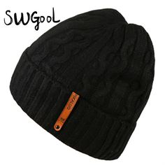 [SWGOOL] Knitted hat quality head caps new fashion winter cap for men soft and elastic hats skiing keep warm protecting hats
