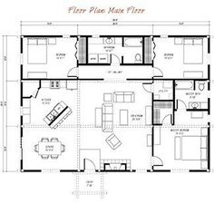floor plan pre-designed ponderosa country barn home kit image 20x36