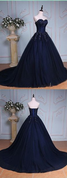 Dark Navy Sweetheart Prom Dress,Long Prom Dresses,Charming Prom Dresses,Evening Dress Prom Gowns, Formal Women Dress,prom dress M1217