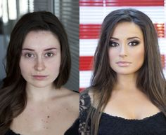 Chica de cabello negro antes y después de aplicarse maquillaje