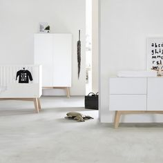 Babykamer Sixties Wit Mat / Naturel - Ledikant - Commode - Kast