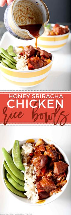 Enjoy flavorful Honey Sriracha Chicken Rice Bowls for dinner! Slightly sweet with a zing of spice, these bowls make a healthy meal. via @speckledpalate
